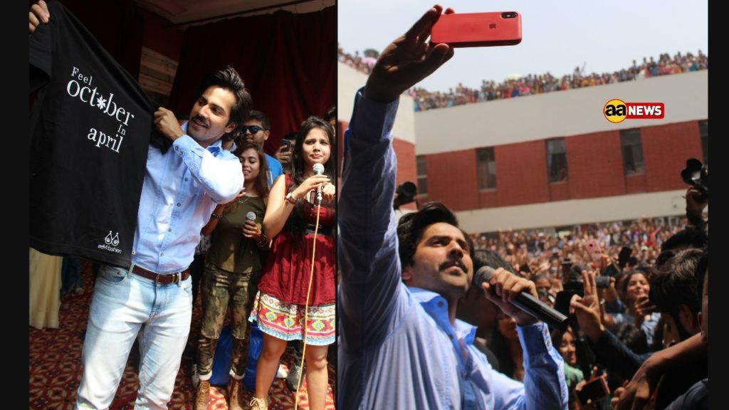 Varun Dhawan visited Lakshmibai College in Delhi for October promotions!